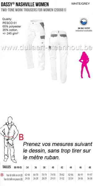 Dassy Nashville - Pantalon de travail pour femme / blanc