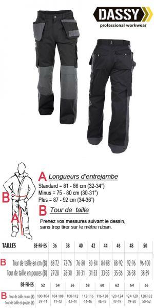 Dassy - Seattle Pantalon de travail noir multi-poches bicolore avec poches genoux