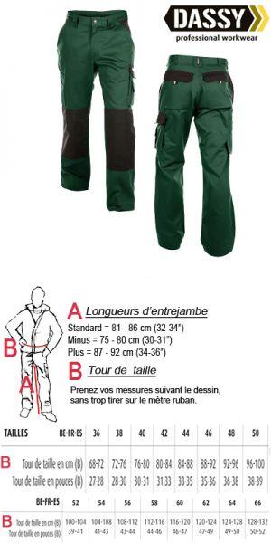 Boston (200426) Pantalon de travail vert / noir avec poches genoux bicolore