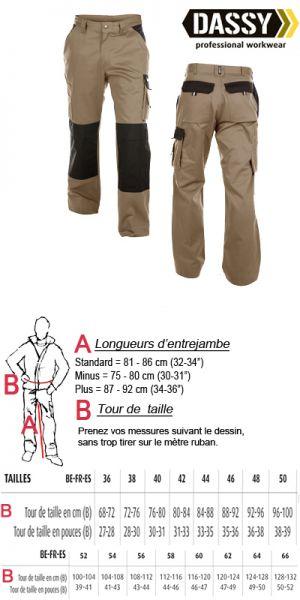 Boston (200426) Pantalon de travail beige/noir avec  poches genoux bicolore
