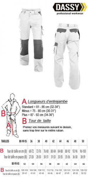 Boston (200426) Pantalon de travail blanc avec poches genoux bicolore
