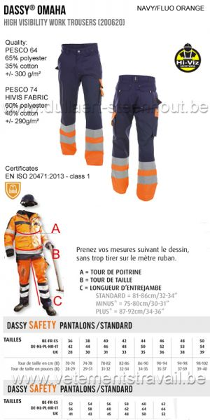 DASSY - Omaha (200620) Pantalon haute visibilité 300 - marine/orange fluo