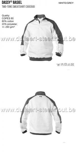 Dassy Basiel (300358) Sweat-shirt bicolore blanc/gris