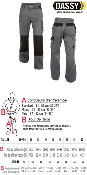 Dassy - Boston (200426) Pantalon poches genoux bicolore gris/noir