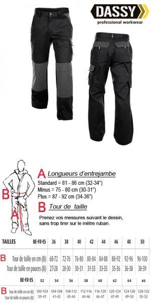 Dassy - Boston (200426) Pantalon de travail poches genoux bicolore noir/gris