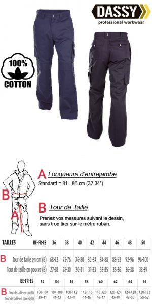 Dassy - Miami 100% coton (200536) Pantalon de travail avec poches genoux - bleu marine