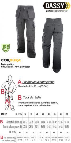 Texas (200595) Pantalon multi-poches en canvas avec poches genoux / gris