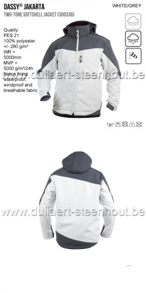 Dassy - Jakarta (300336) Veste softshell bicolore blanc - grijs