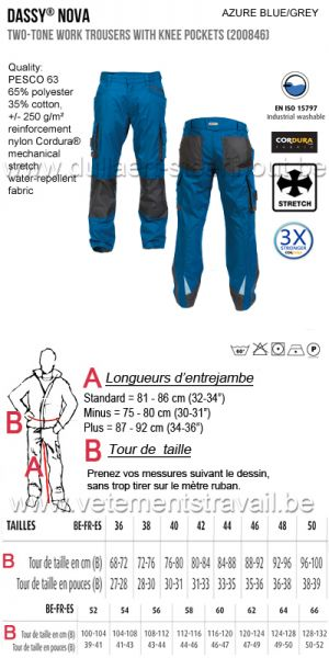 DASSY® Nova (200846)  Pantalon de travail poches genoux bicolore - bleu/gris