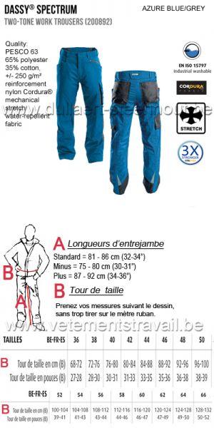 DASSY® Spectrum (200892)  Pantalon de travail bicolore - bleu azur /gris
