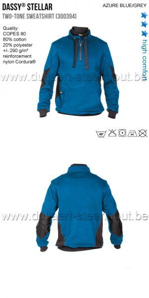 DASSY® Stellar (300394) Sweat-shirt bicolore bleu/gris