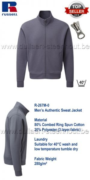 Russell - Men's Authentic Sweat Jacket - convoy grey