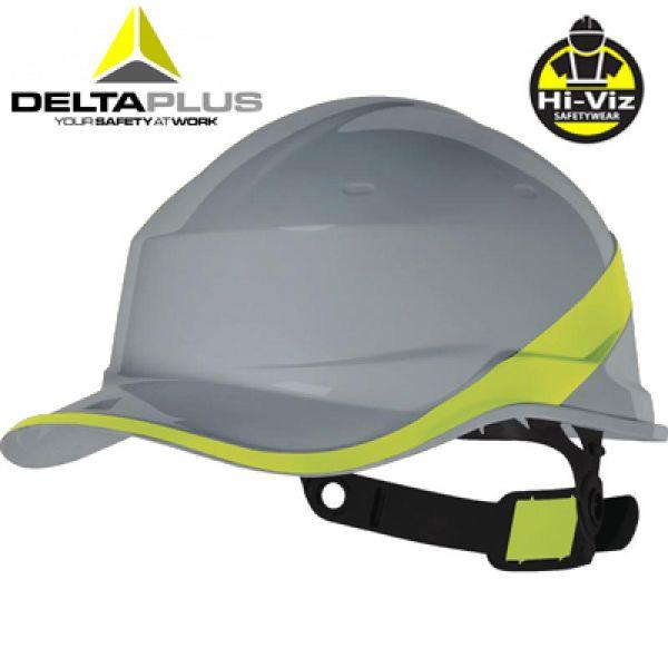 Deltaplus Casque de chantier forme casquette BASEBALL gris/jaune