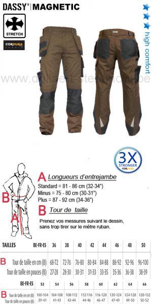 DASSY® Magnetic (200908) Pantalon multi-poches bicolore avec poches genoux / brun