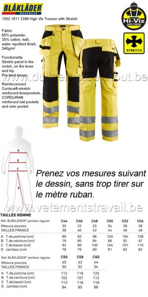 Blaklader - 155218113399 Pantalon stretch haute-visibilité / jaune-noir