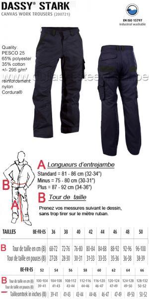 DASSY® Stark (200721) Pantalon de travail en canvas - bleu nuit / noir
