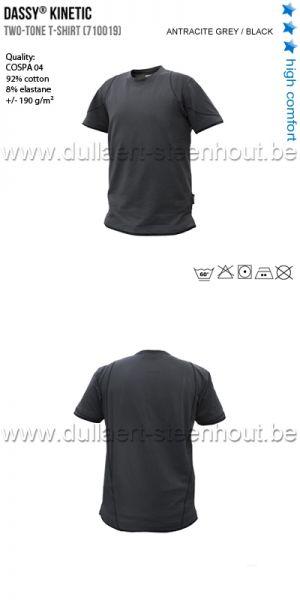 DASSY® Kinetic (710019) T-shirt bicolore - gris anthracite / noir