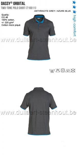 DASSY® Orbital (710011) Polo bicolore - gris/bleu azur