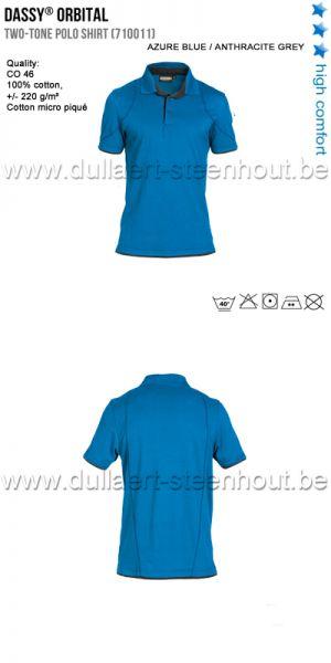 DASSY® Orbital (710011) Polo bicolore - bleu azur/gris