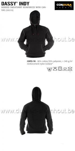 DASSY® Indy (300318) Sweat-shirt à capuche renforcé avec canvas - noir
