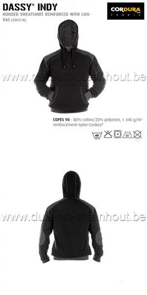 DASSY® Indy (300318) Sweat-shirt à capuche renforcé avec canvas - noir/gris