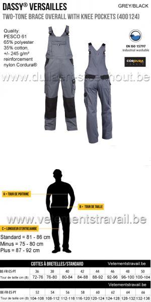 DASSY® Versailles (400124) Cotte à bretelles / salopette de travail bicolore - gris/noir