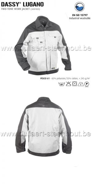 DASSY® Lugano (300183) Veste de travail bicolore - blanc/gris