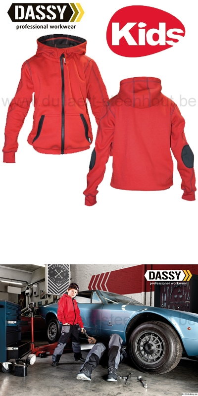 DASSY® Watson Kids (300391) Sweat-shirt à capuche - rouge/noir