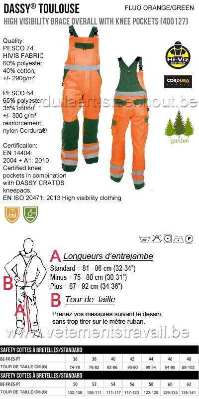 DASSY® Toulouse (400127) Cotte à bretelles haute visibilité - orange fluo/vert