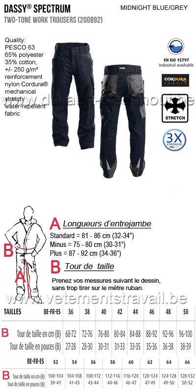DASSY® Spectrum (200892) Pantalon de travail bicolore - bleu nuit/gris