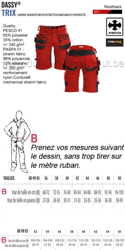 DASSY® Trix (250083) Bermuda de travail multi-poches avec stretch - rouge/noir