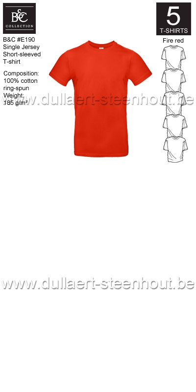 PROMOPACK B&C E190 - 5 T-shirts / Fire red