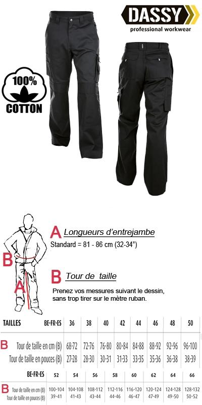 Dassy - Miami 100% coton (200536) Pantalon de travail avec poches genoux noir