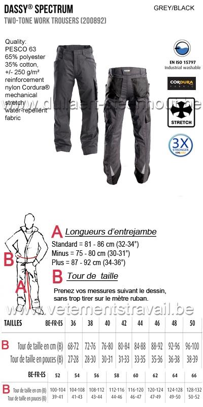 DASSY® Spectrum (200892) Pantalon de travail bicolore - gris/noir