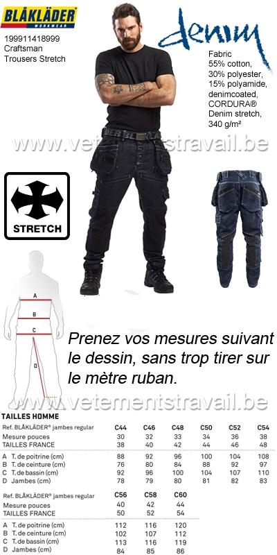 a63485867b Blaklader - 199911418999 Pantalon X1900 artisan CORDURA® DENIM stretch