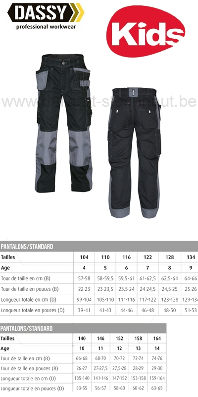 DASSY® Seattle Kids (200847) Pantalon de travail multi-poches bicolore