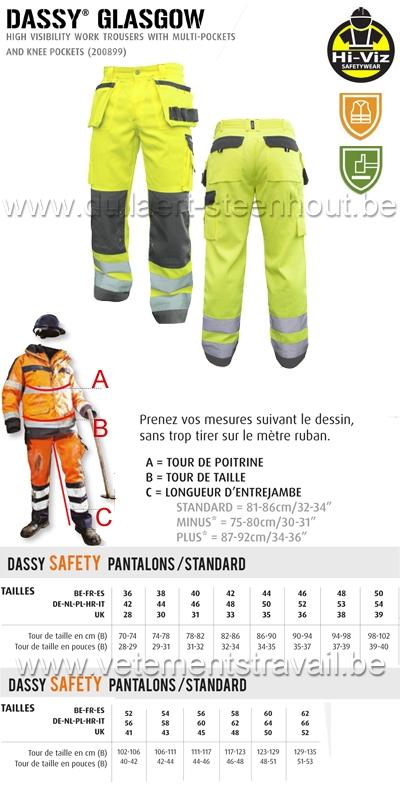 DASSY® Glasgow (200899) Pantalon haute visibilité multi-poches / jaune-gris