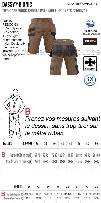 DASSY® Bionic (250071) Bermuda de travail multi-poches bicolore / brun-gris